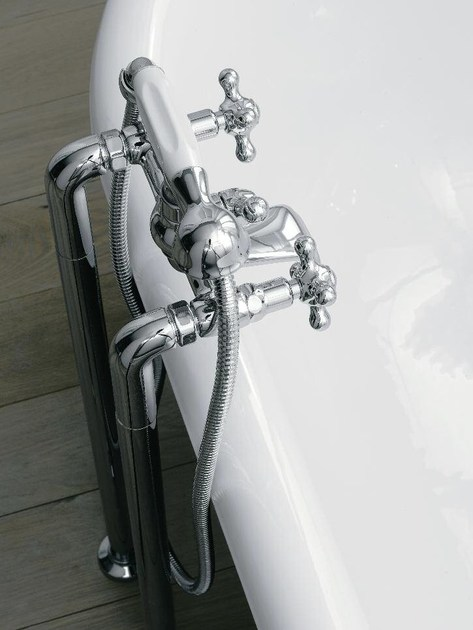 Floor standing bathtub tap with hand shower with individual rosettes 800 | Floor standing bathtub tap - ZAZZERI