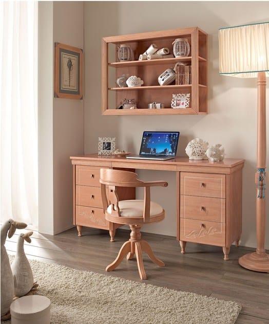 Scrivania rettangolare in legno massello con cassetti per camerette onda scrivania con - Camerette in legno massello per ragazzi ...