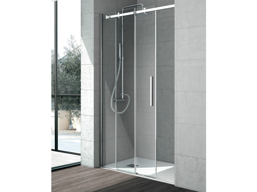Crystal shower cabin with sliding door FLOW | Crystal shower cabin - GRUPPO GEROMIN