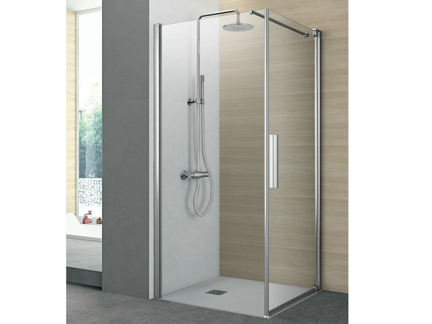 Corner shower cabin with one pivot door and one fixed side PIVOT | Corner shower cabin - GRUPPO GEROMIN