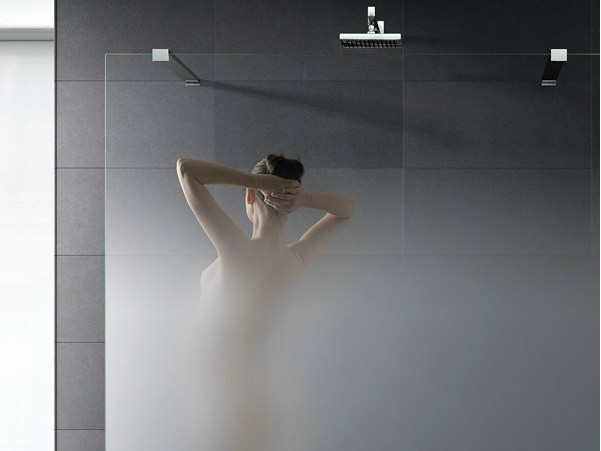 Gradient satin glass for shower screens MADRAS® NUVOLA - Vitrealspecchi