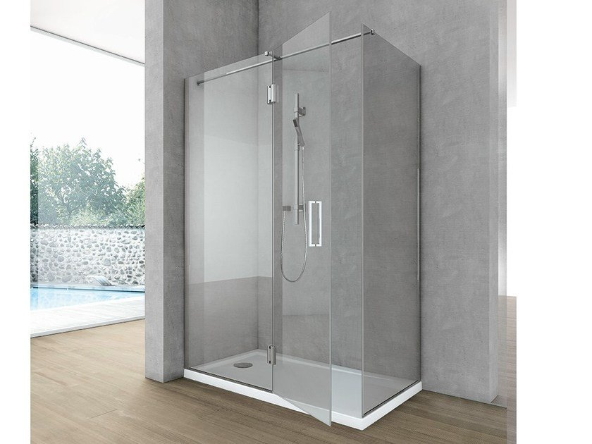 Crystal shower wall panel with frontal entry SIDE 5 - HAFRO