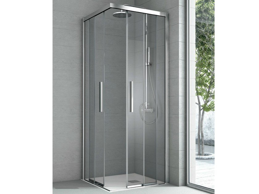 Corner crystal shower cabin with 2 sliding doors aster by for Corner sliding glass doors