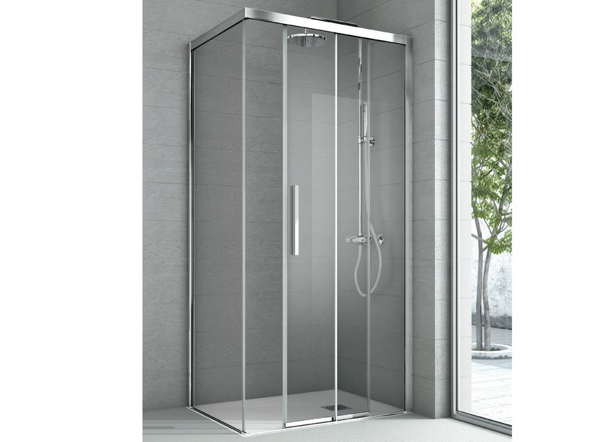 Shower cabin with one fixed panel and one sliding door ASTER | Crystal shower cabin - GRUPPO GEROMIN