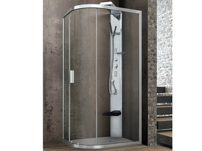 Semi-quadrant crystal shower cabin with one sliding door ASTER-T | Corner shower cabin - HAFRO