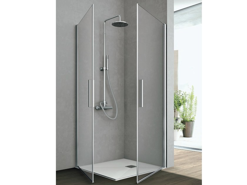 Crystal shower cabin with two shutter doors LINE | Shower cabin - GRUPPO GEROMIN