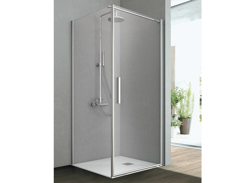 Corner shower cabin with one shutter door and one fixed side LINE by Gruppo Geromin