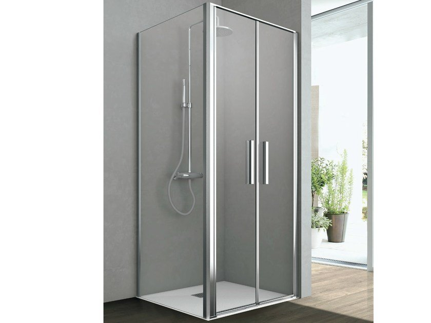 Corner shower cabin with two saloon doors and one fixed side LINE | Corner shower cabin - GRUPPO GEROMIN