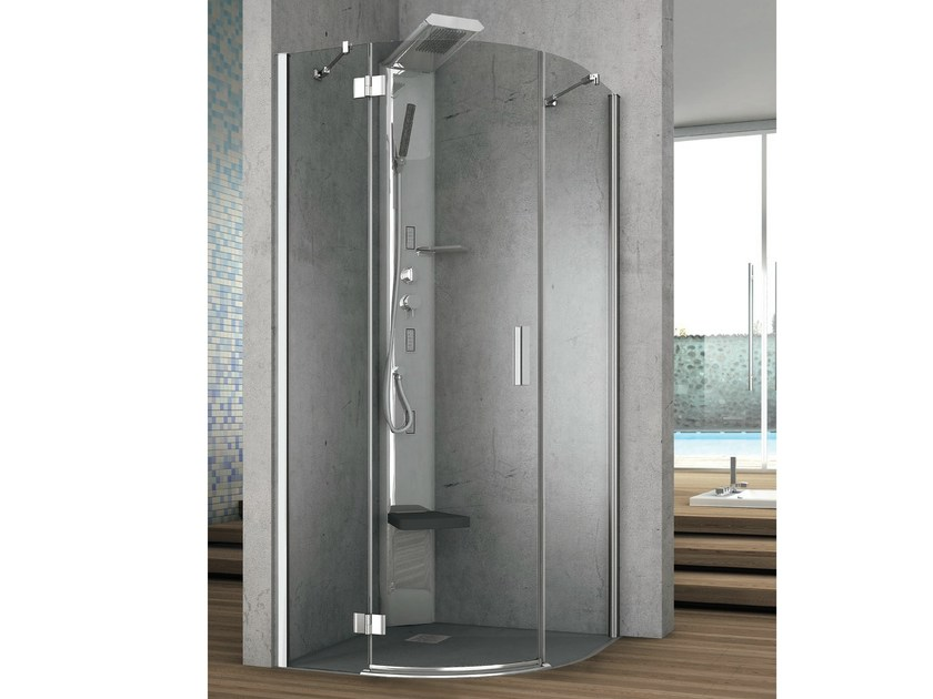 Corner round crystal shower cabin with shutter door ELEMENT | Shower cabin - GRUPPO GEROMIN