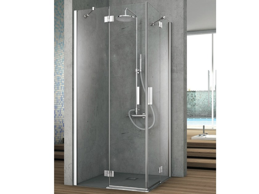 Corner crystal shower cabin with two shutter doors ELEMENT | Corner shower cabin by Gruppo Geromin