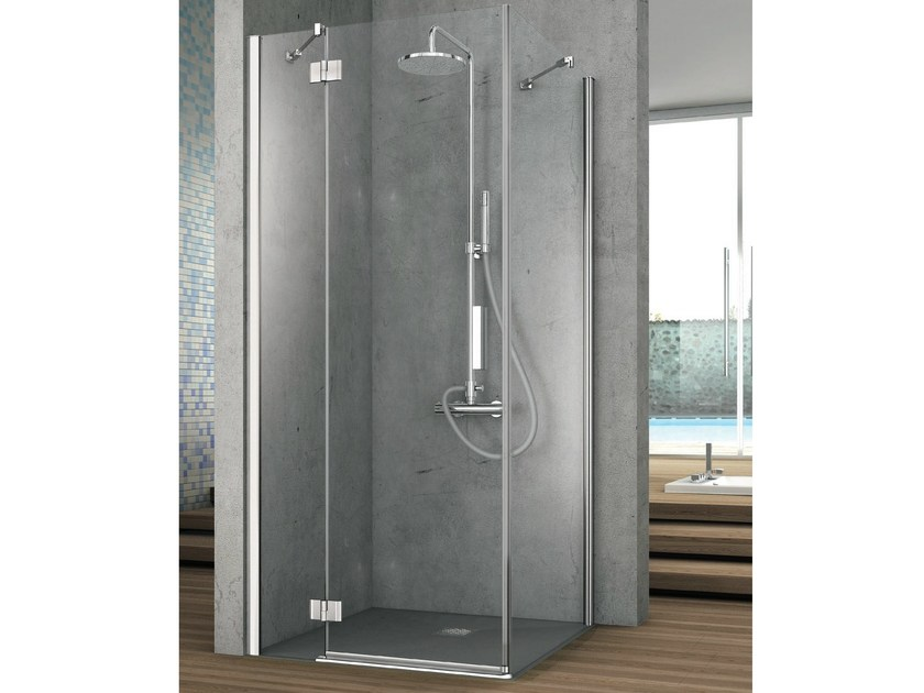 Corner shower cabin with one shutter door and one fixed side ELEMENT | Crystal shower cabin by Gruppo Geromin