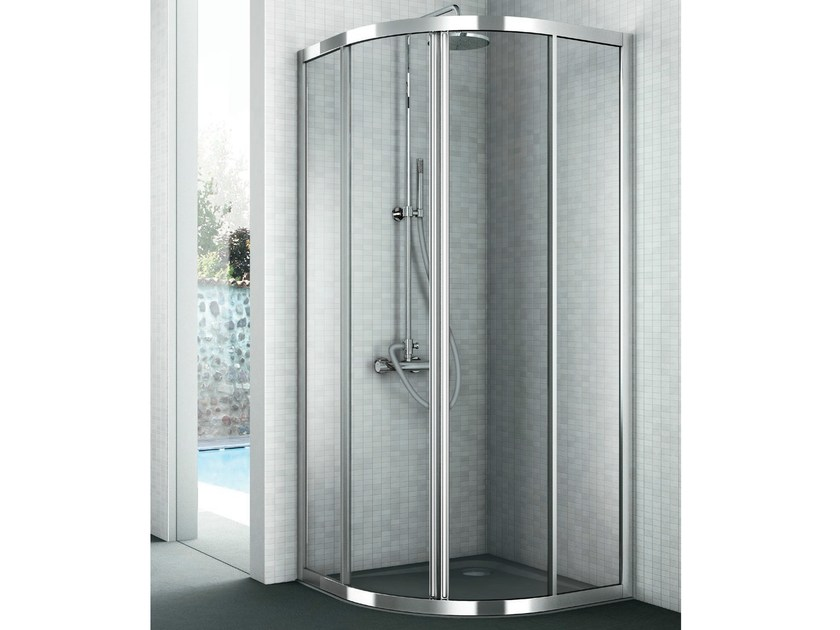 Corner crystal shower cabin with two sliding doors EASY - GRUPPO GEROMIN