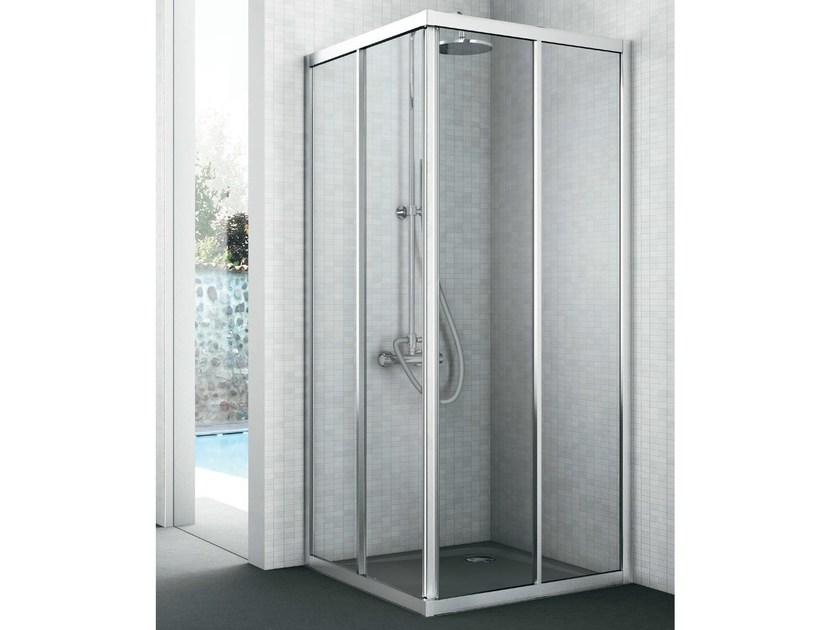 Corner crystal shower cabin with two sliding doors EASY | Shower cabin - GRUPPO GEROMIN