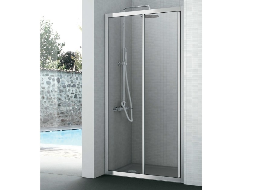 Crystal shower cabin with one sliding door EASY | Shower cabin with sliding door by Gruppo Geromin