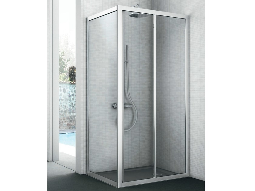 Corner shower cabin with fixed side EASY | Shower cabin - GRUPPO GEROMIN