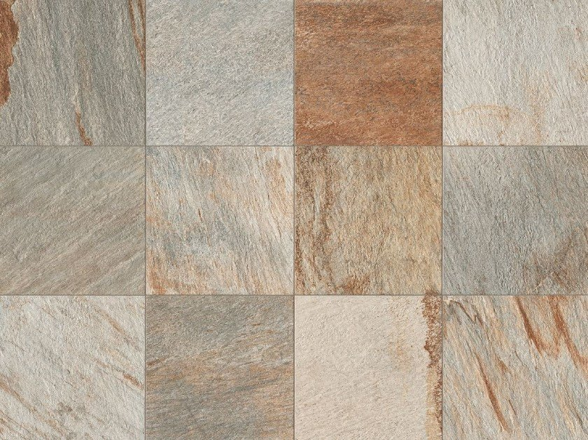 Full-body porcelain stoneware wall/floor tiles with stone effect STONE D Quarzite Multicolor by Italgraniti