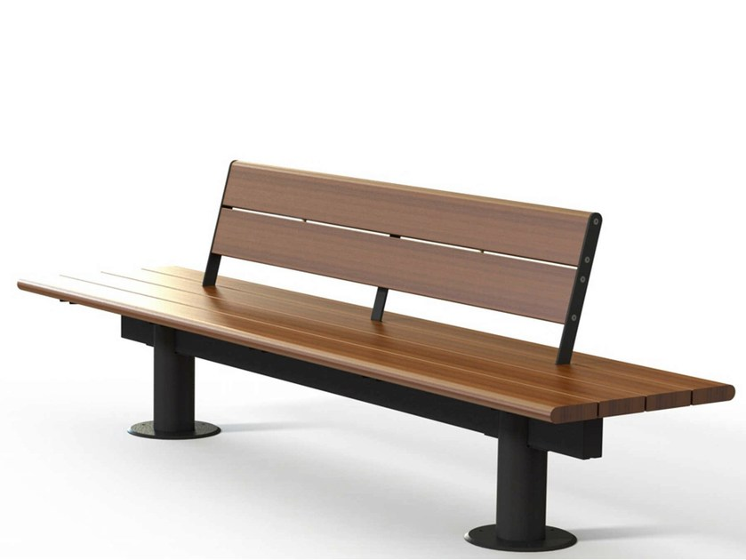 Contemporary style wooden Bench with back VALENCIA - Metalco