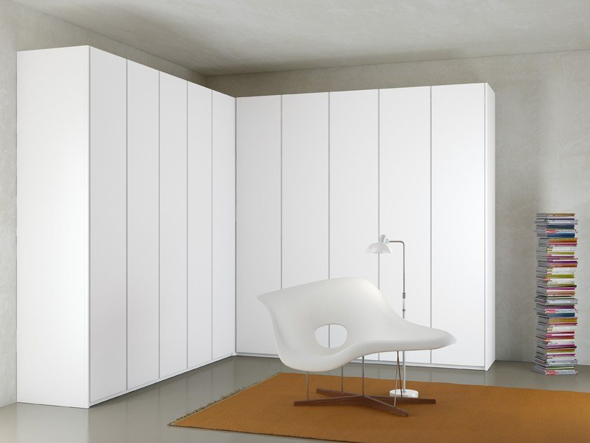 Wardrobe Atlante with Sheer hinged doors mat white lacquered