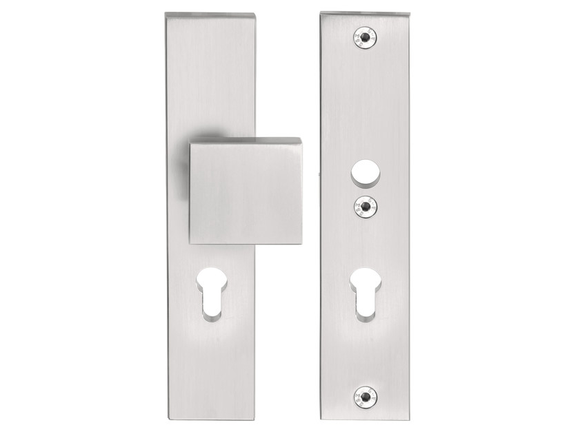 Stainless steel door knob with lock on back plate SQUARE | Door knob on back plate - Formani Holland B.V.