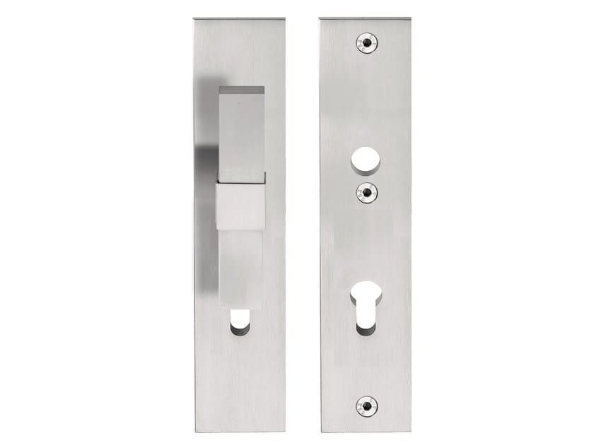 Maniglia per porte d 39 ingresso in acciaio inox su piastra - Maniglia porta ingresso ...