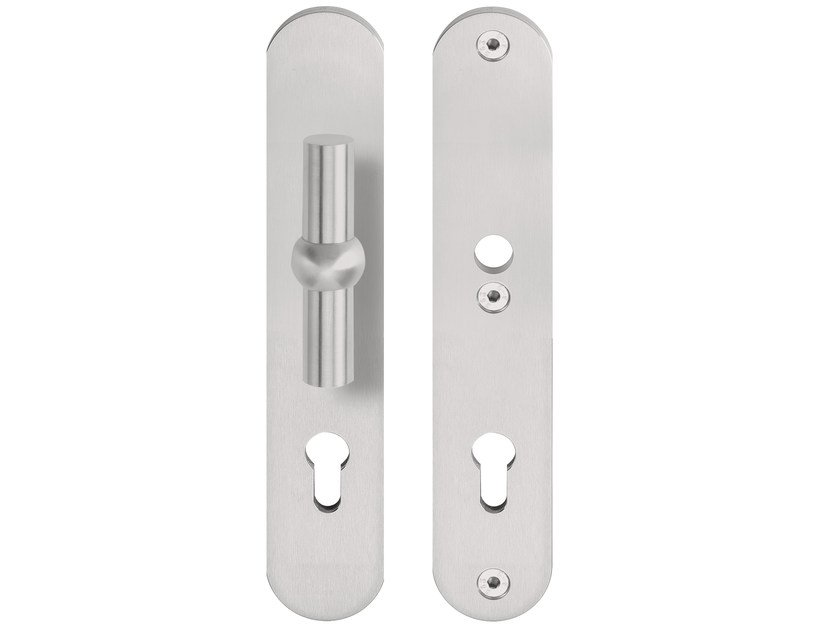 Stainless steel exterior door handle on back plate FERROVIA | Exterior door handle - Formani Holland B.V.