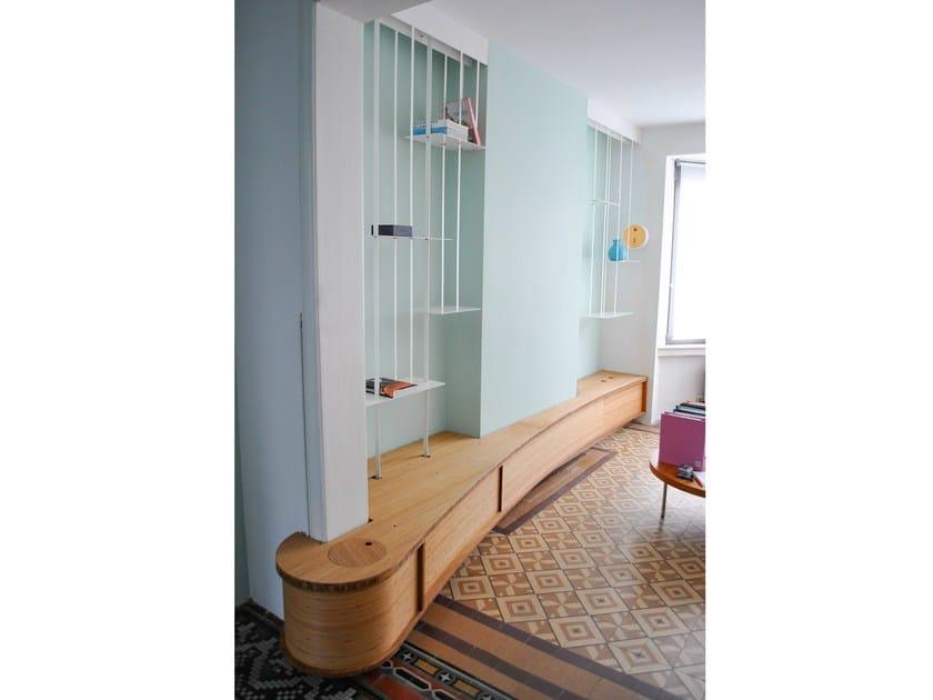 biblioth que sur mesure en acier suspension by jo a. Black Bedroom Furniture Sets. Home Design Ideas
