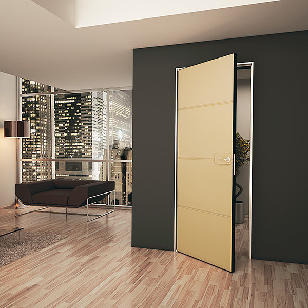 Flush-fitting tanned leather door PIA B by BARAUSSE