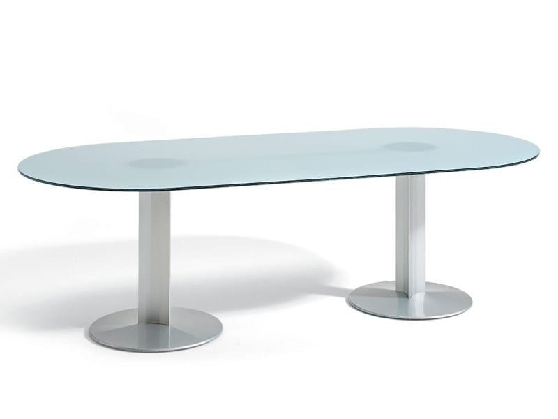 Tavolo tavolo da riunione in vetro peana tavolo ovale - Tavolo vetro ovale ...