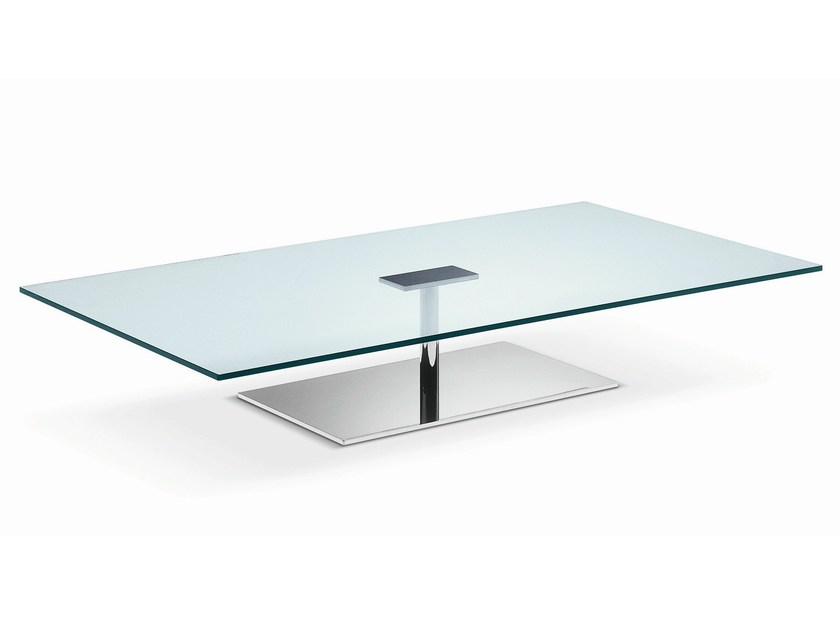 Low rectangular tempered glass coffee table FARNIENTE | Rectangular coffee table - T.D. Tonelli Design