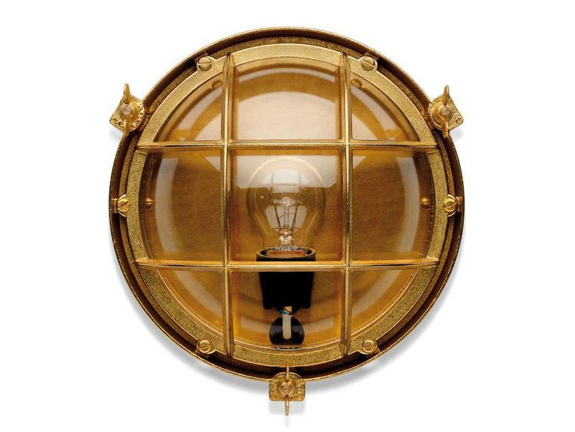 Brass Wall Lamp 100014 | Screen light IP 23 plain brass - THPG
