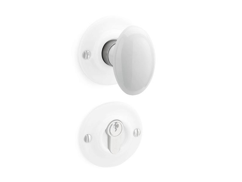 Porcelain door handle on rose with lock 179972 | Door knob porcelain white - THPG