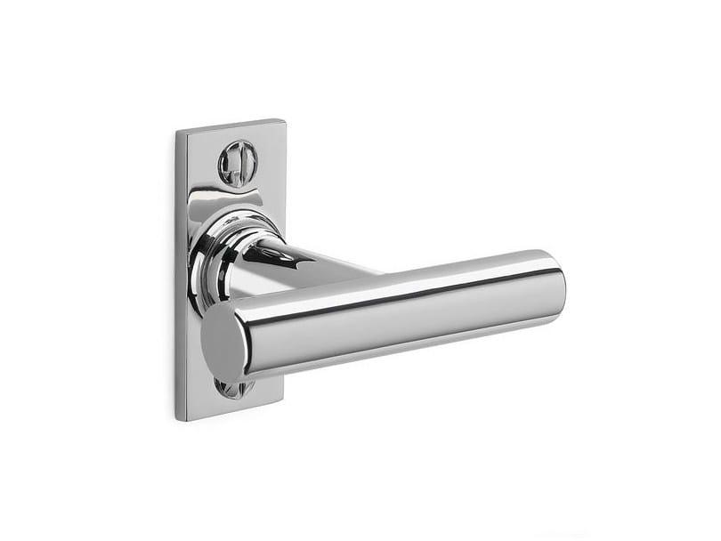 Brass window handle on back plate 158045 | Window handle nickel-plated - THPG