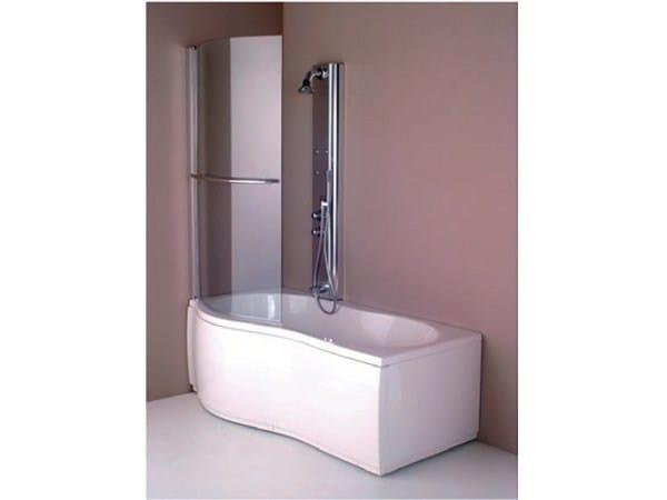 Vasca da bagno asimmetrica angolare in acrilico con doccia - Bagno con vasca angolare ...
