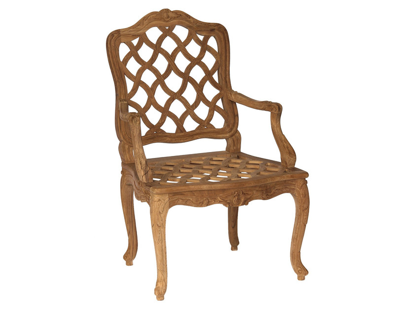 Teak garden chair with armrests CHÈVREFEUILLE | Chair with armrests - ASTELLO