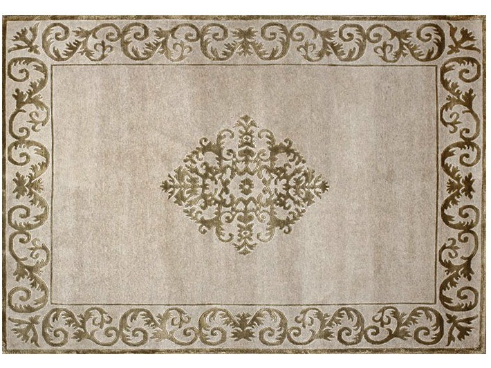 Handmade rectangular custom rug AMIRAL PLATINE - EDITION BOUGAINVILLE