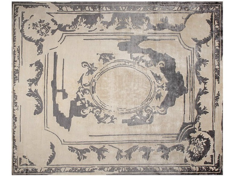 Handmade rectangular rug FONTENAY NEW AGE GREY by EDITION BOUGAINVILLE