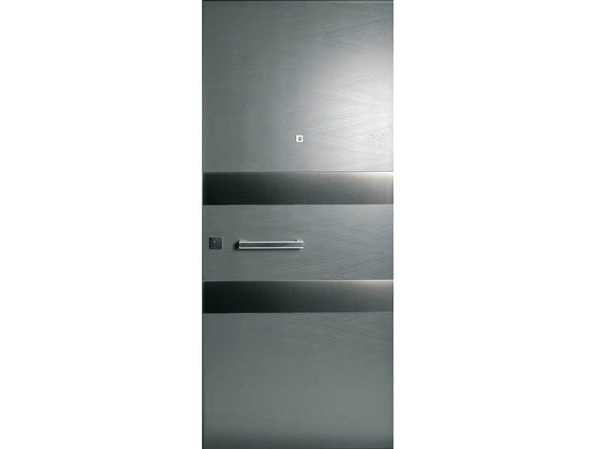 Stainless steel and wood armoured door panel SEGMENTI (S704) by OMI ITALIA
