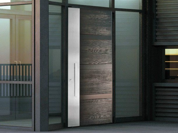 Stainless steel and wood armoured door panel STEEL LEGNO (S711) - OMI ITALIA