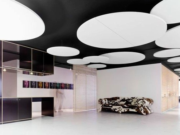 Glass wool acoustic ceiling clouds Ecophon Solo™ Circle XL by Saint-Gobain ECOPHON