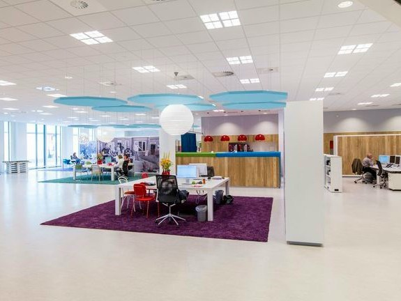 Glass wool acoustic ceiling clouds Ecophon Solo™ Octagon by Saint-Gobain ECOPHON