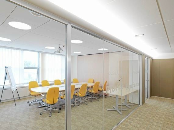 Sound absorbing ceiling tiles Illuminated Level Change by Saint-Gobain ECOPHON
