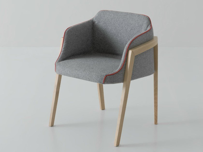 Upholstered easy chair with armrests CHEVALET - GABER
