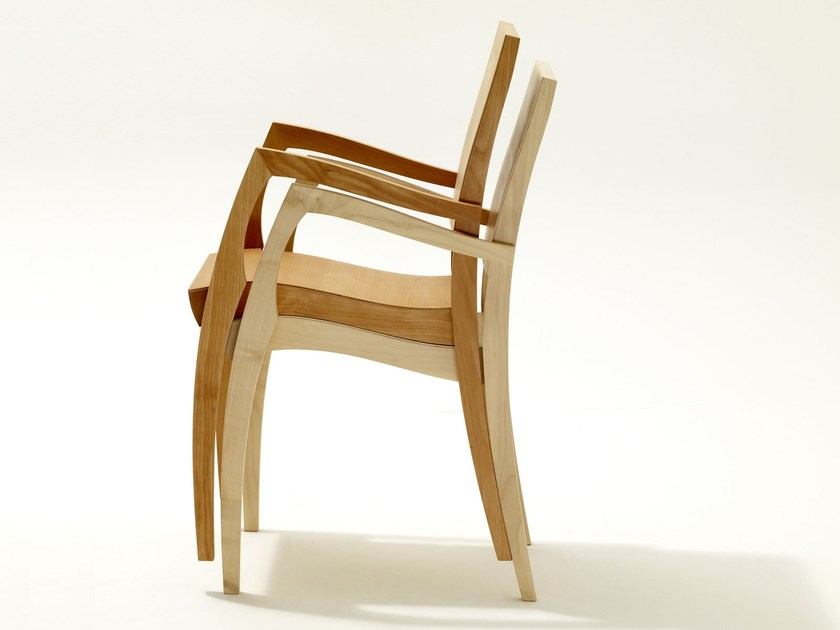 Stackable wooden chair with armrests GRASSHOPPER ² | Chair with armrests - sixay furniture