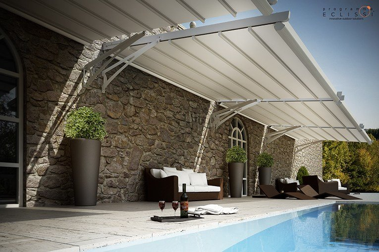 p rgola de aluminio con toldo corredero fly by tenda service. Black Bedroom Furniture Sets. Home Design Ideas