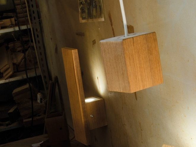 Lampada da soffitto o a sospensione in teak , design by Mirko Salvoni ...