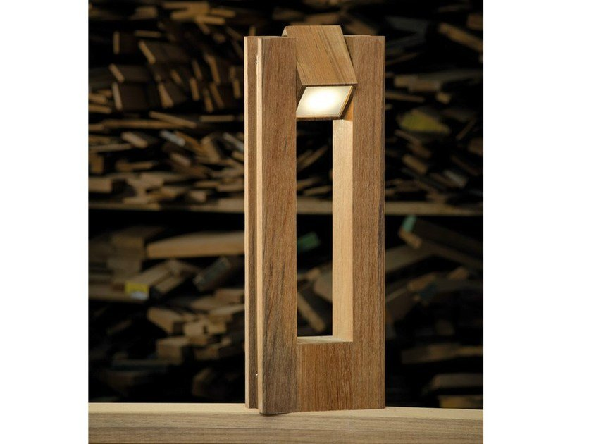 Adjustable teak Floor lamp LEGNO STYLE 60Q 360° - Lombardo
