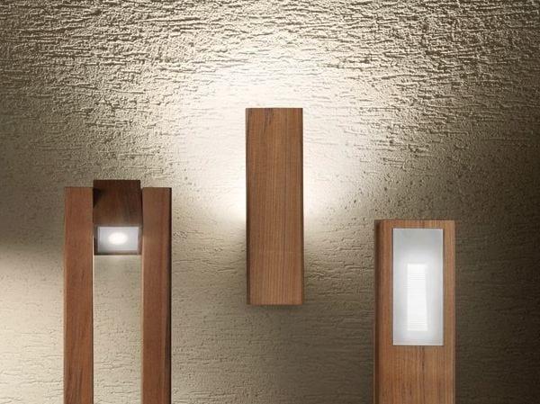 Lampada da parete in teak legno style 60q wall serie legno - Lampade da muro design ...