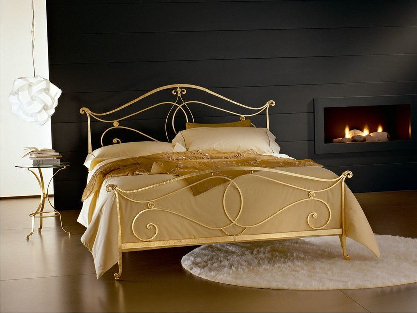 Gold leaf double bed FLORENCE | Gold leaf bed by CIACCI