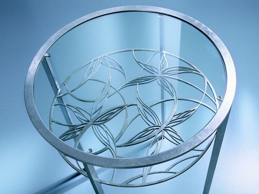 Round silver leaf bedside table QUERIDA | Bedside table - CIACCI