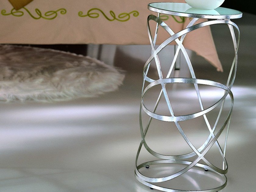 Round silver leaf bedside table NUVOLA | Bedside table - CIACCI